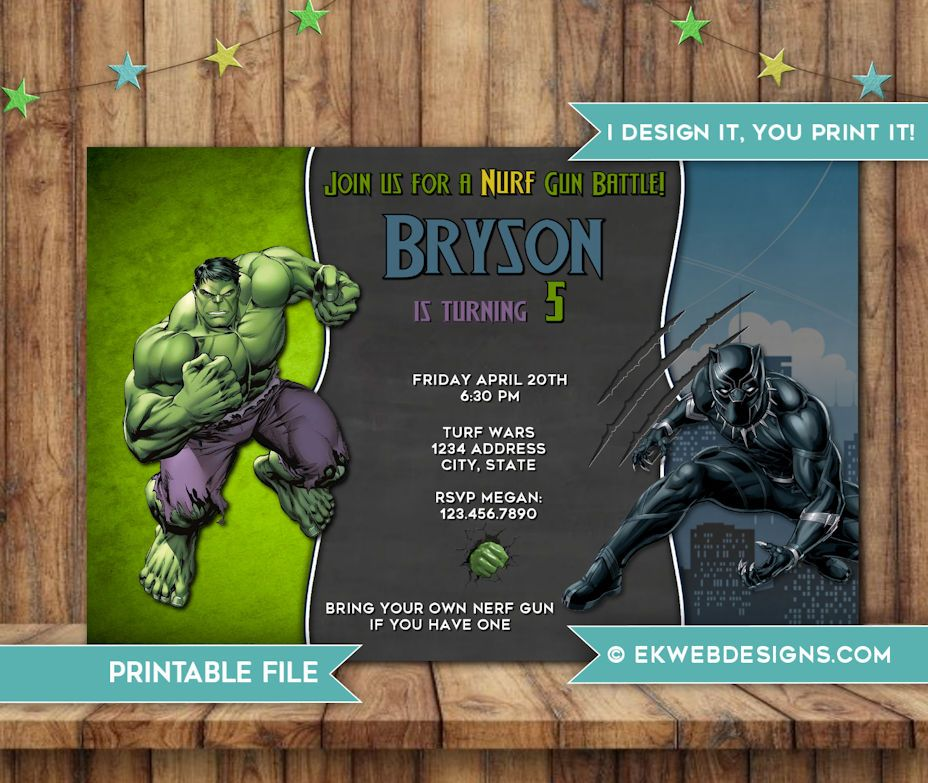 Incredible Hulk And Black Panther Birthday Invitation Super Hero Bi Superhero Birthday Invitations Birthday Invitations Kids The Incredibles
