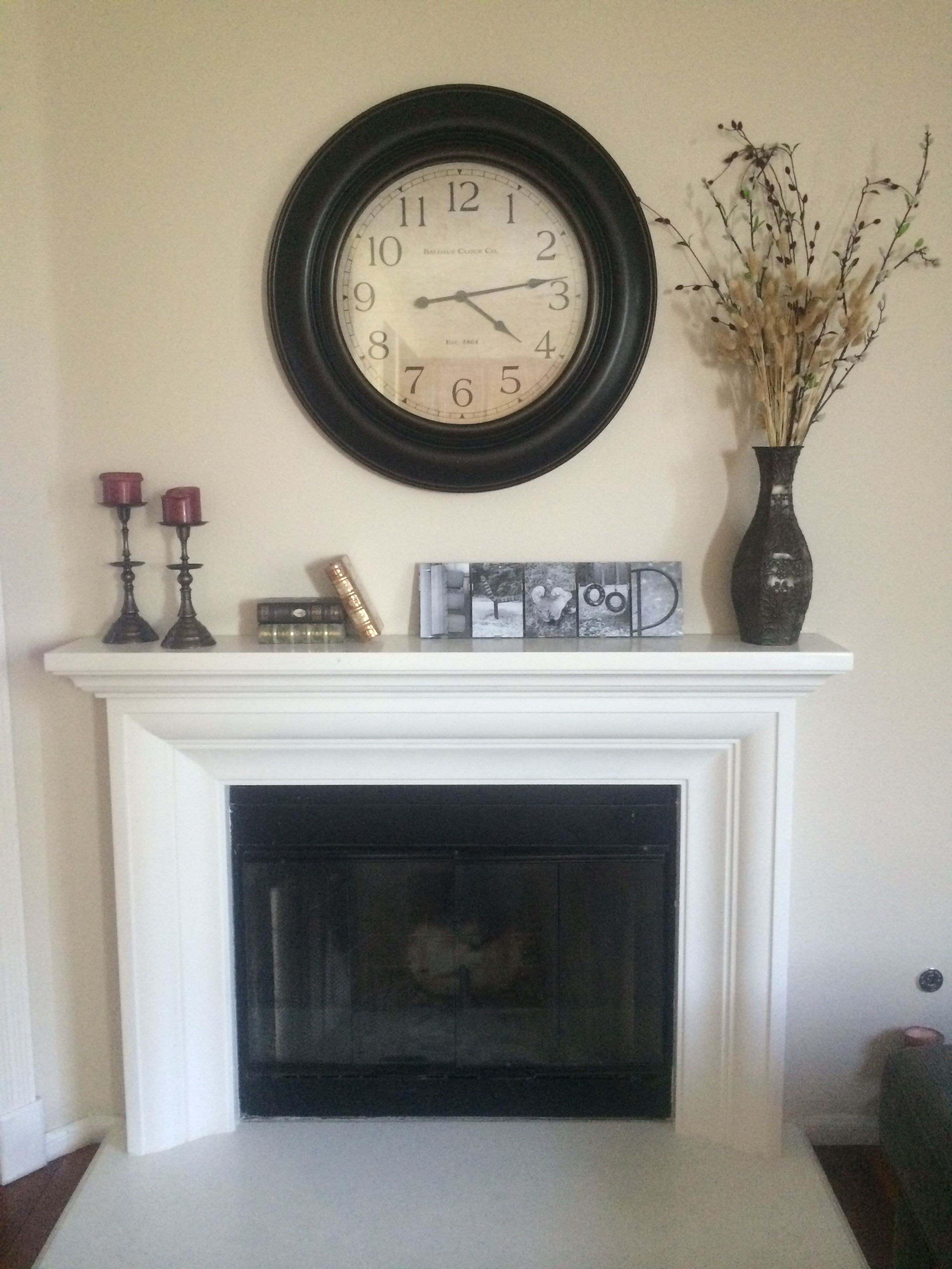 Oversized Wall Clock Over Mantle Farmhouse Fireplace Mantels Fireplace Mantel Decor Oversized Wall Clock