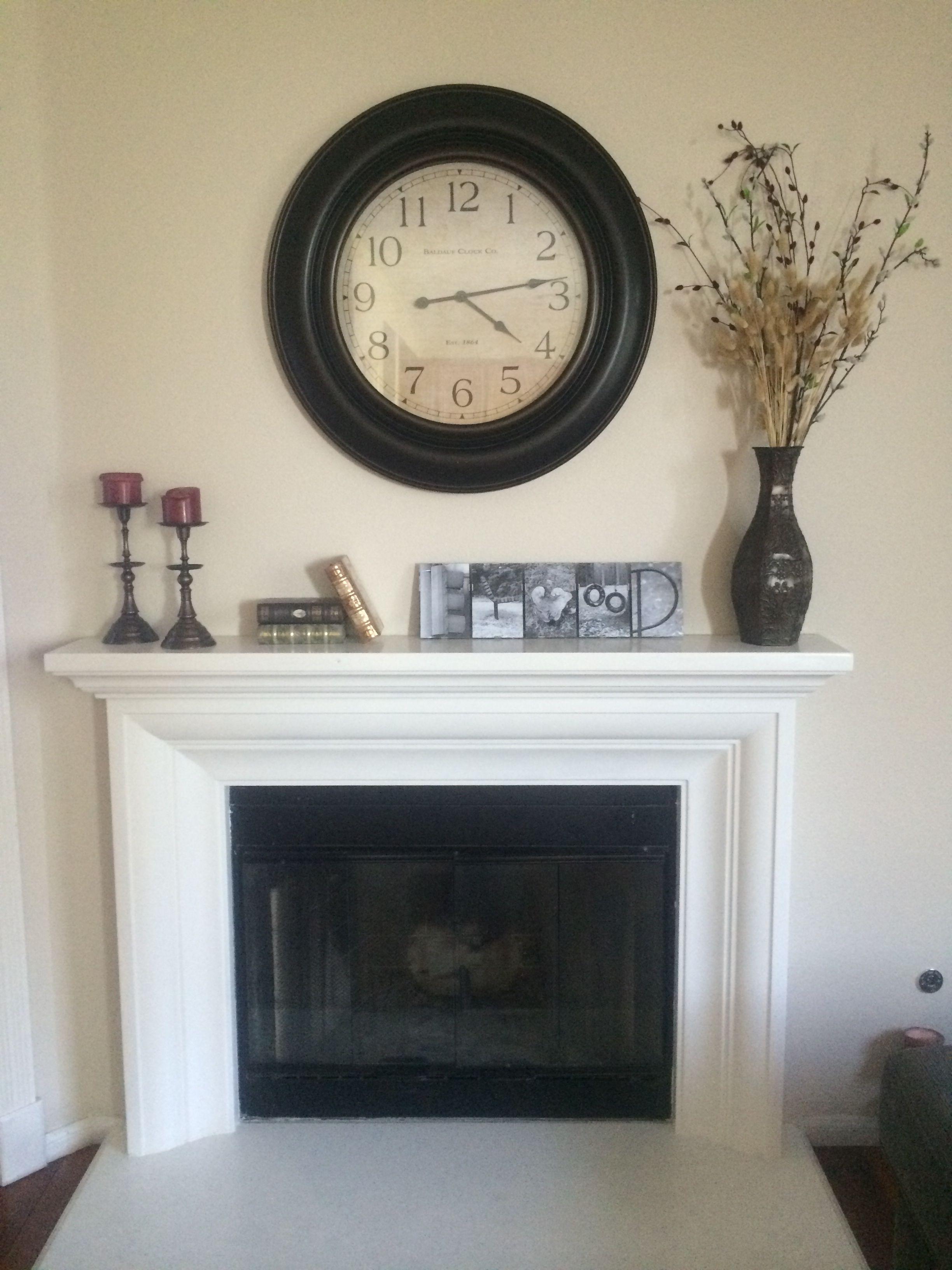 Oversized Wall Clock Over Mantle Farmhouse Fireplace Mantels Oversized Wall Clock Fireplace Mantel Decor
