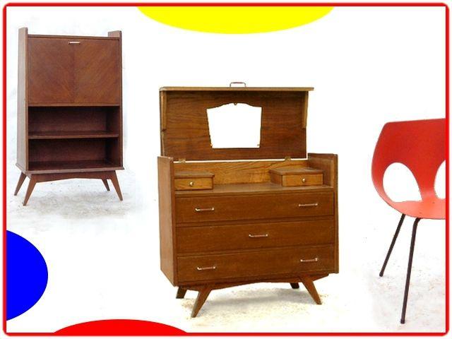 COMMODE COIFFEUSE VINTAGE BOIS MASSIF 1950 | meubles design vintage ...
