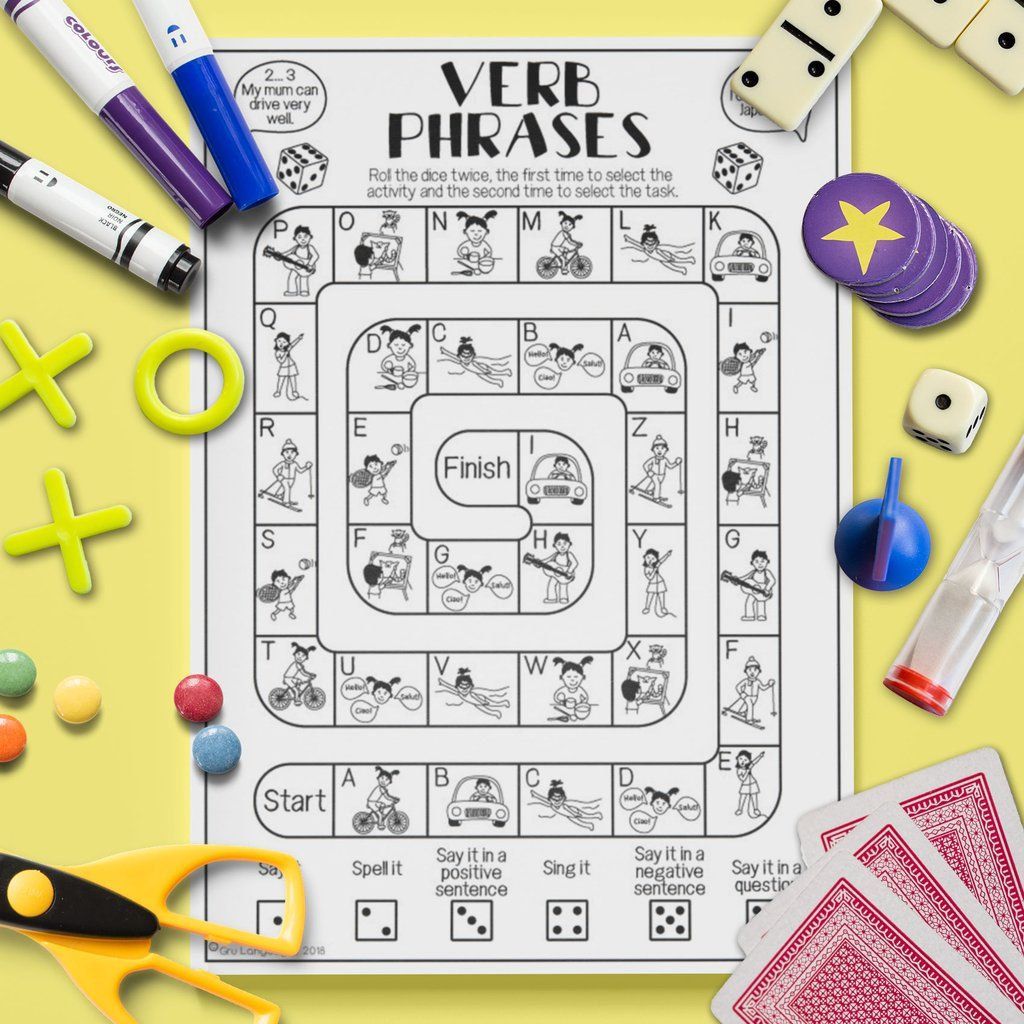 Verb Phrases Board Game