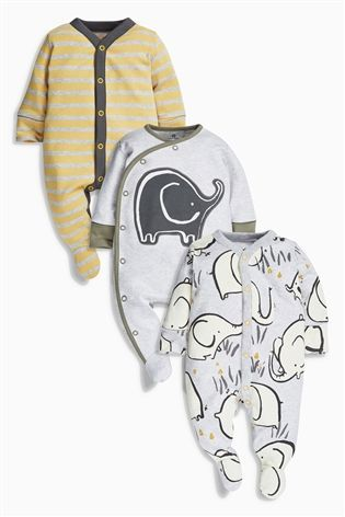 Buy Grey Dreamer Elephant Sleepsuits Three Pack (0mths-2yrs) from the Next  UK online shop 32216e6c7d