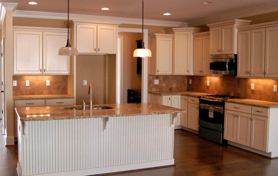 Decorations, Nice Kitchen Remodeling Ideas With Kitchen Island With White Beadboard Ikea Pendant Lamp Yellow Ceramic Backsplash L Shaped White Stained Kitchen Cabinet L Shaped White Wall Cabinet With Microwave Under Cabinet Wood Floor: Best Tips And Advice of Kitchen Remodeling for Your Home