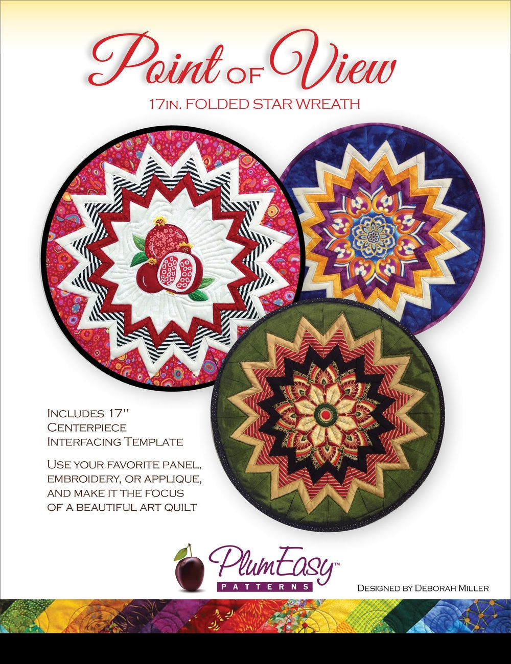 This is a pattern for Point of View Folded Star Wreath pattern. It has one  template included to help make this project in an efficient and fun way.   More interfacing templates are available in 3-packs.  This pattern makes amazing wall hangings or table toppers with little work,  giving life t