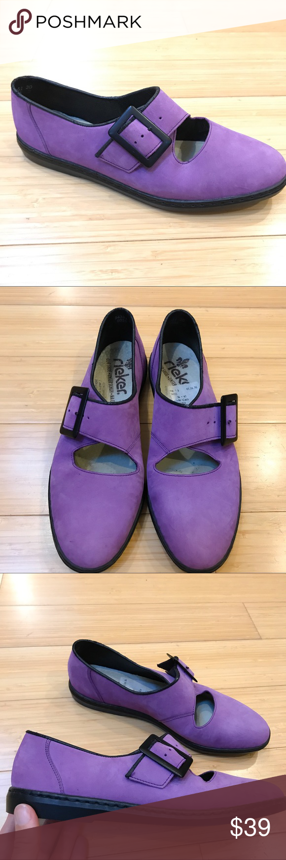 14290126e0fca RIEKER purple leather maryjane loafers, 36 So beautiful! Brand new without  box pair of