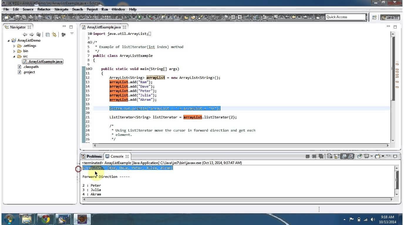 Java : Collection Framework : ArrayList (ListIterator Index