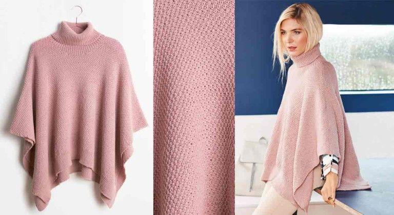 Le poncho au point de riz | Poncho tricot, Modele tricot gratuit et Tricot
