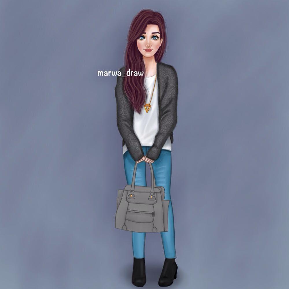 صور رسم بنات كرتون رمزيات رسومات انمي للانستقرام Girly Drawings Girly M Cute Girl Drawing