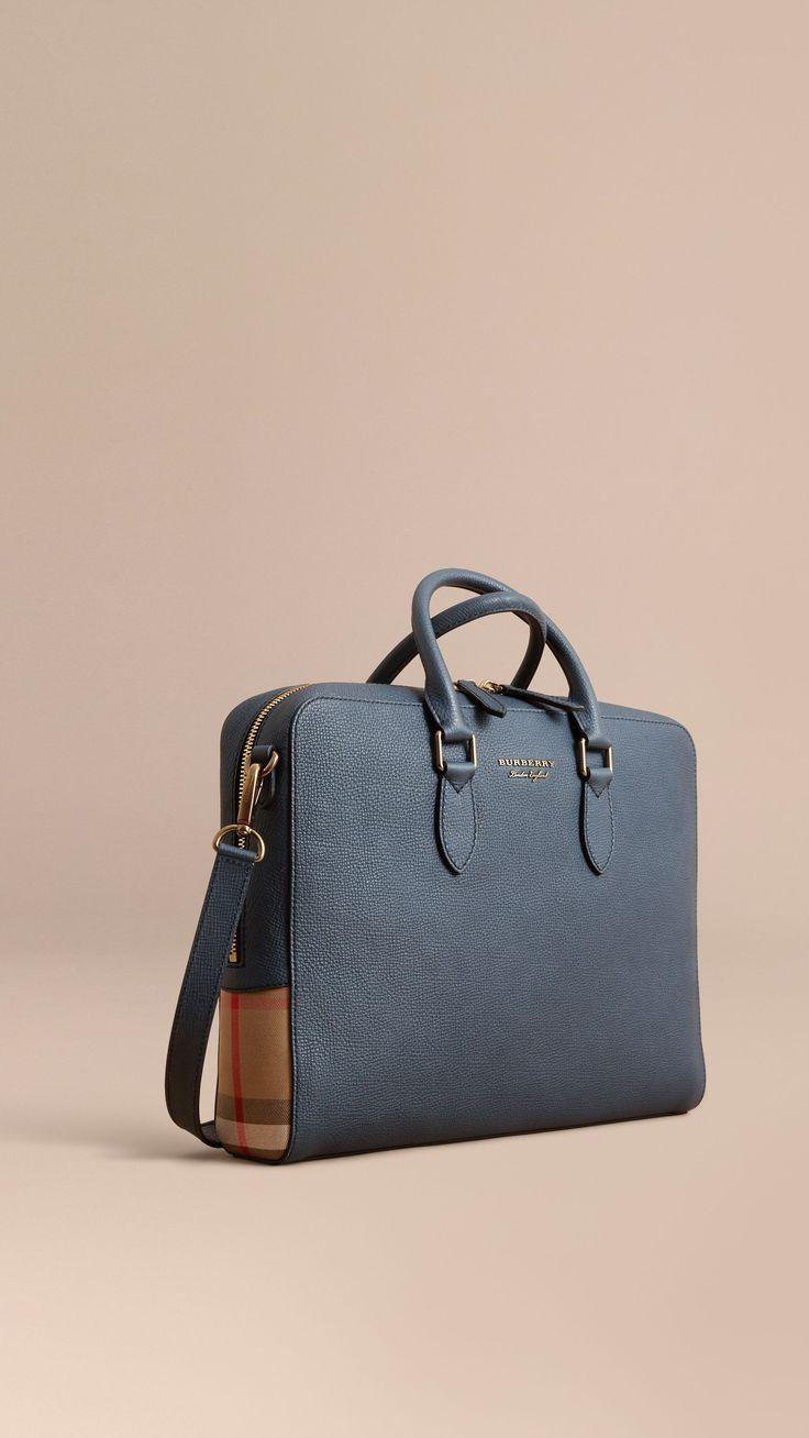 73ec812bb89db Aktentasche aus Leder und House Check-Gewebe Sturmblau