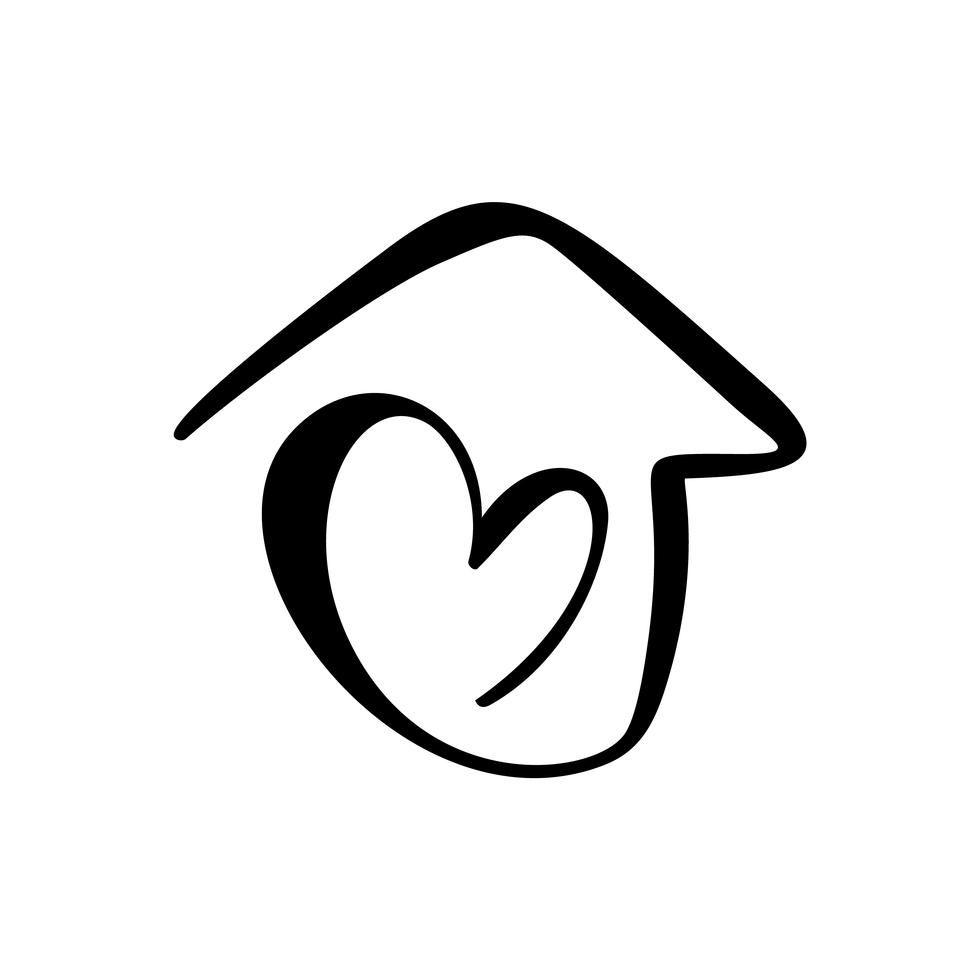 Casa De Caligrafia Sencilla Con Corazon Icono Real Del Vector