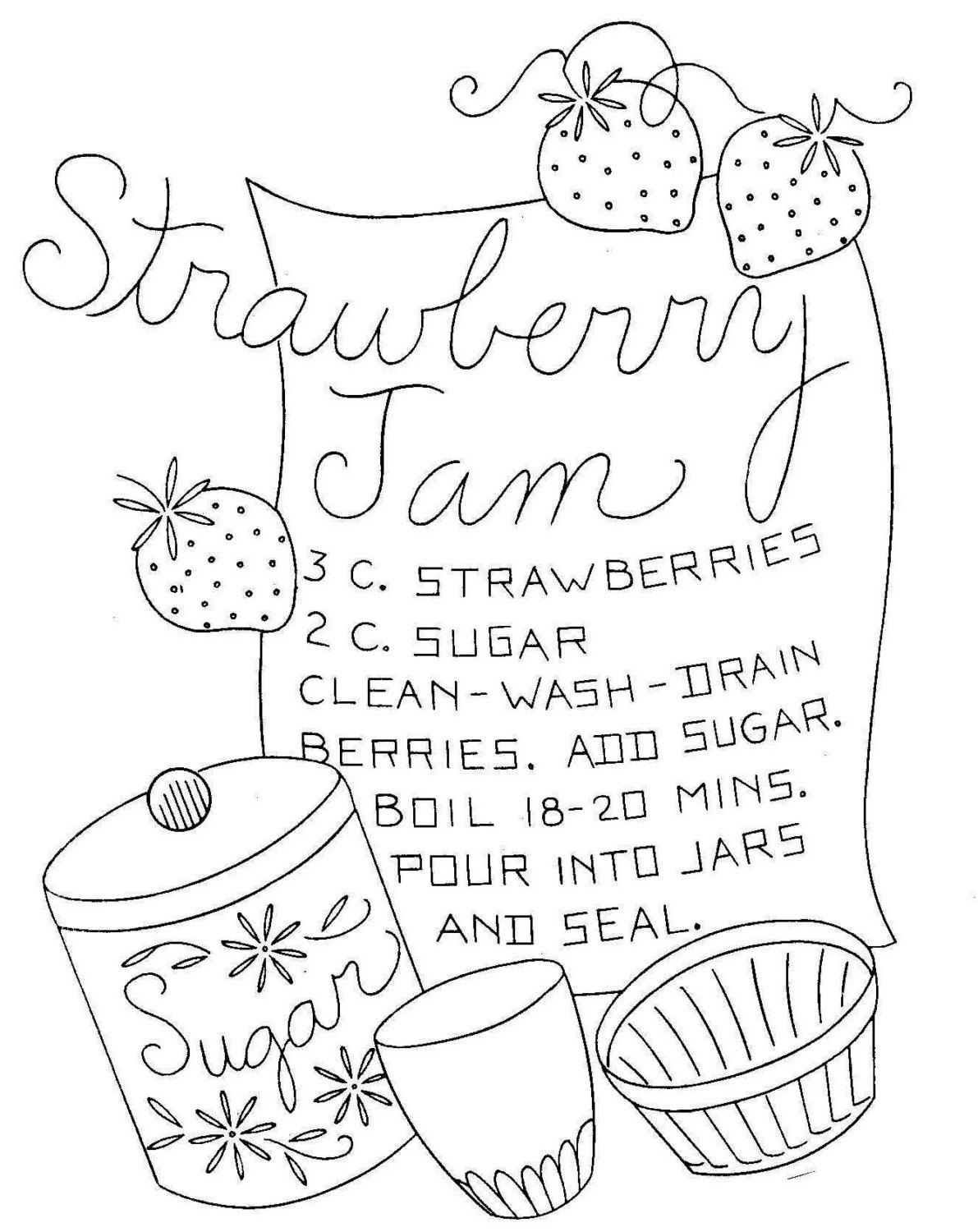Vintage Embroidery Pattern Recipes For Dish Towels