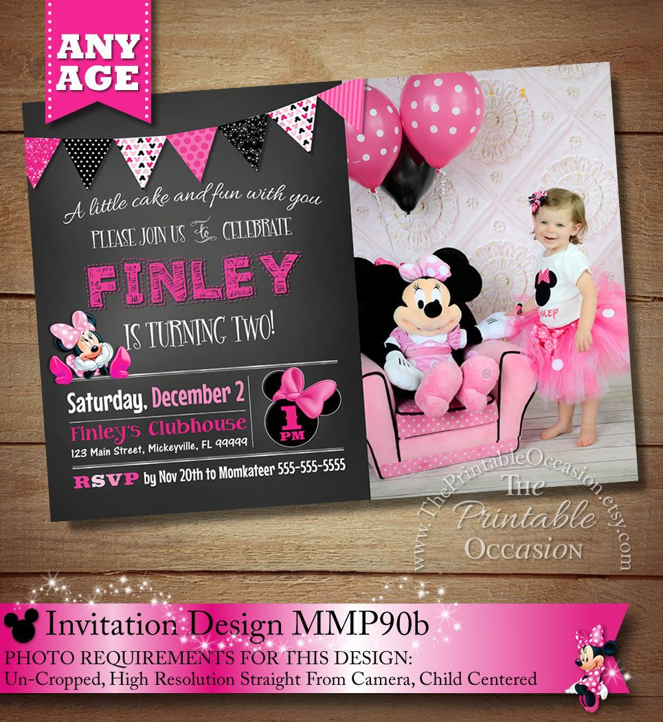 ANY AGE Minnie Mouse Birthday Invitation, Pink Minnie Mouse Birthday ...