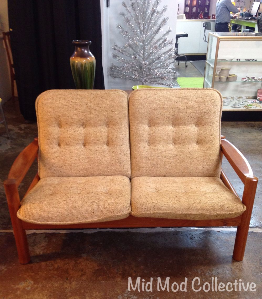 Danish Modern Teak Loveseat By Domino Mobler. Also Available, Matching End  Table, Chair
