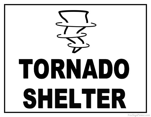 Printable Tornado Shelter Sign People Places and Things