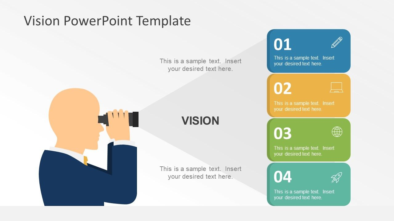 Flat Vision Statement PowerPoint Graphics Vision