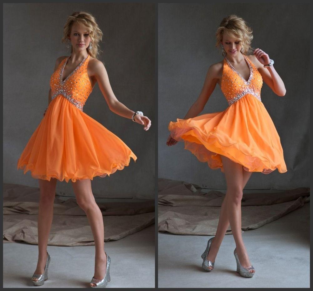 Simple homecoming dresses crystal short dress free shipping organze