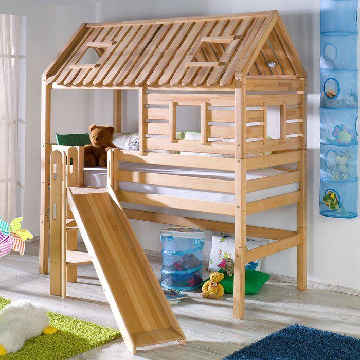 Hochbett Tom's Hütte mit Rutsche, 90 x 200 cm Diy