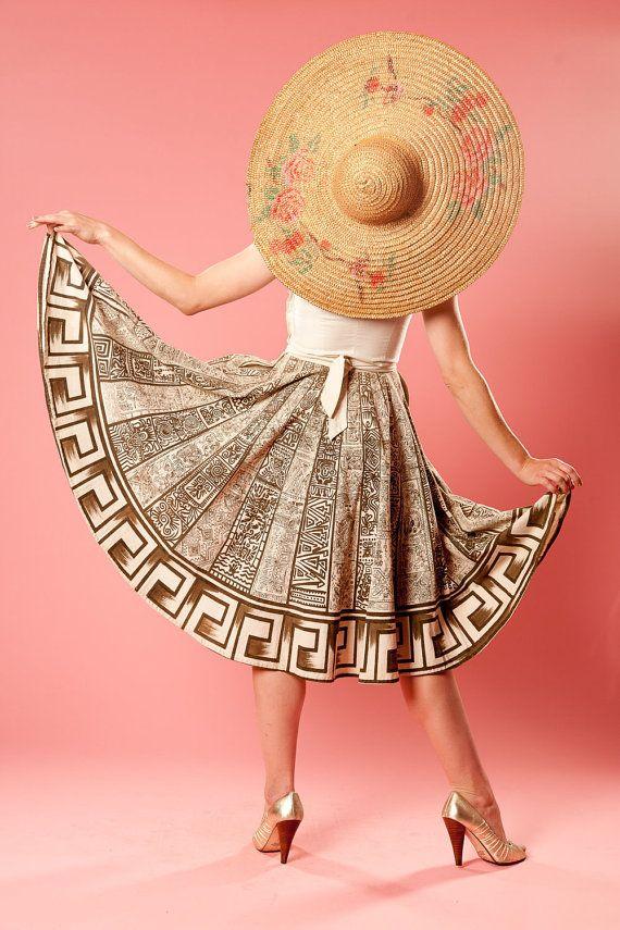 Vintage 1950s Aztec Circle Skirt Cotton New Look by AlexSandras