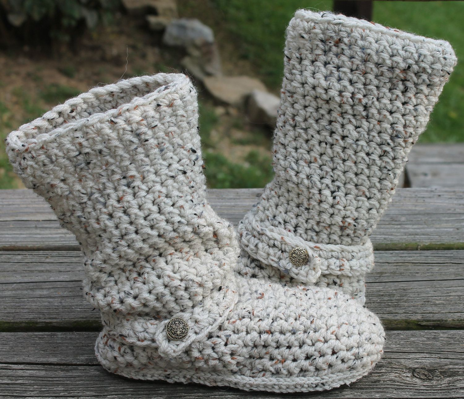 Crochet Boots Pattern---------OATMEAL-----Slouchy Mid Calf Boots for ...