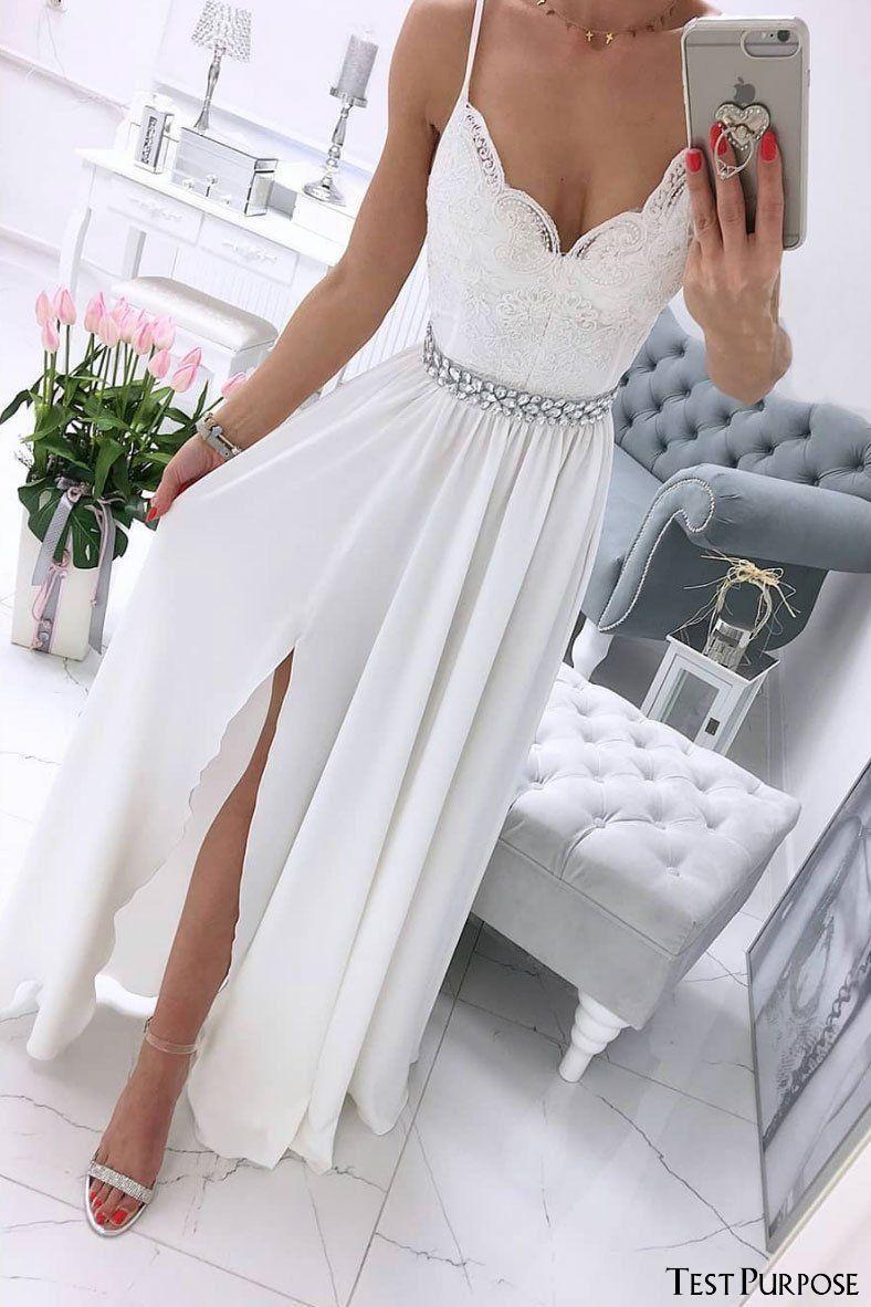 White prom dressesv neck prom dresseschiffon prom dresseslace long