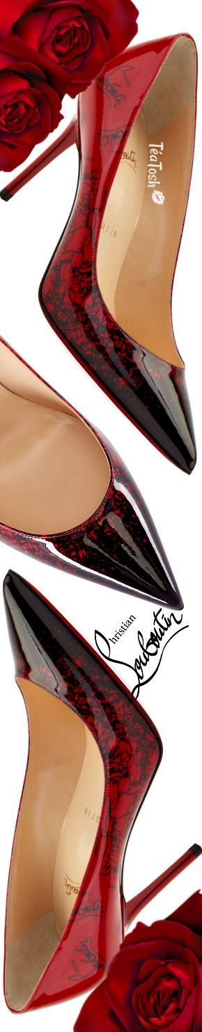 ❈Téa Tosh❈ Christian Louboutin, Decollete 554 Mid-Heel Patent Degraloubi Red Sole Pumps #ChristianLouboutin #teatosh