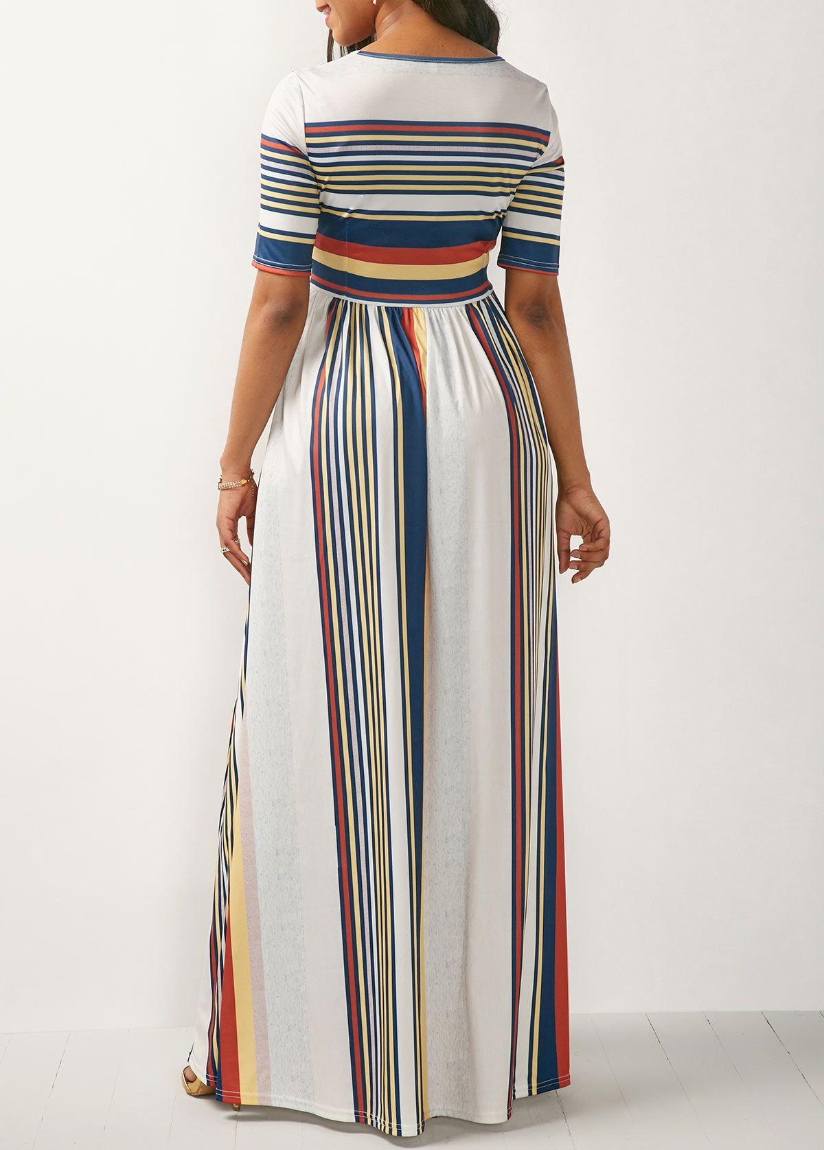 7a5c06d7d908 High Waist Stripe Print White Maxi Dress