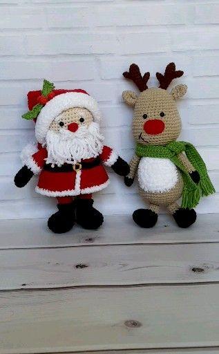 Amigurumi Santa Claus and Reindeer - Set of 2 PDF Crochet Patterns Christmas Santa Toy Gift Xmas Amigurumi Toy Pattern Crochet Reindeer toy #stuffedtoyspatterns