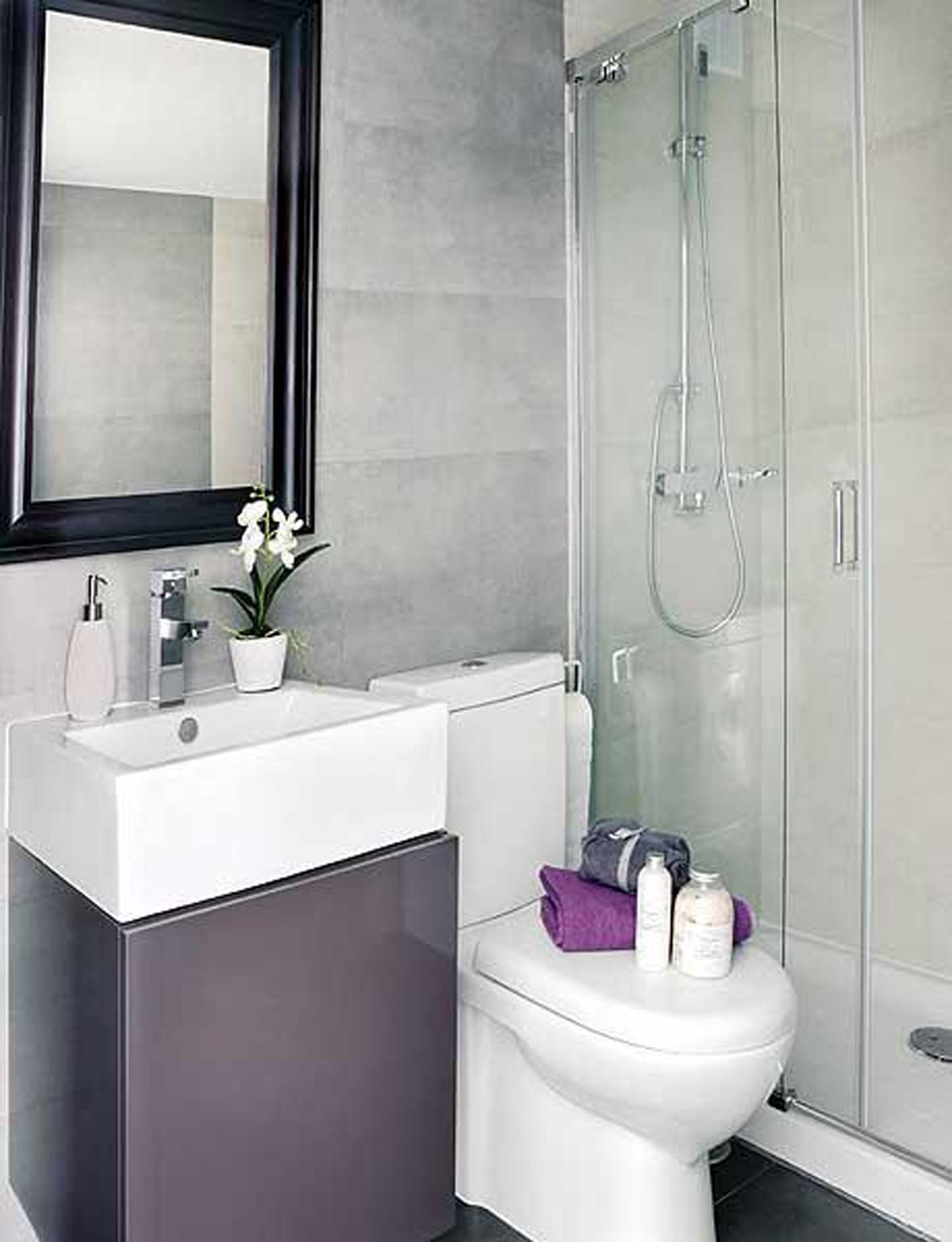 Pics Of Awesome Interior Design of a Small Square Meter Apartment Small Square Meter Apartment With White Purple Bathroom Wall Mirror Wash Basin Storage