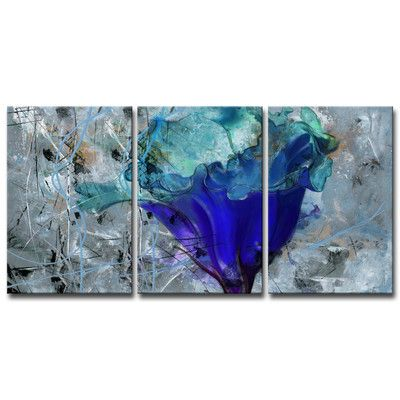 """Ready2hangart """"Painted Petals LX"""" 3 Piece Painting Print on Wrapped Canvas Set"""