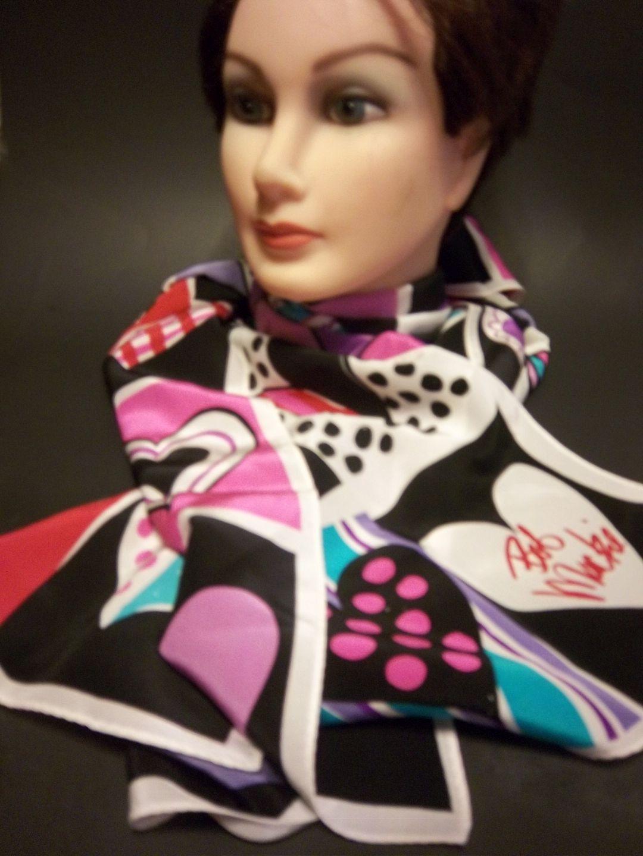 Bob Mackie Hearts Silk Wearable Art Scarf-Signed by TammyannsTrinkets on Etsy