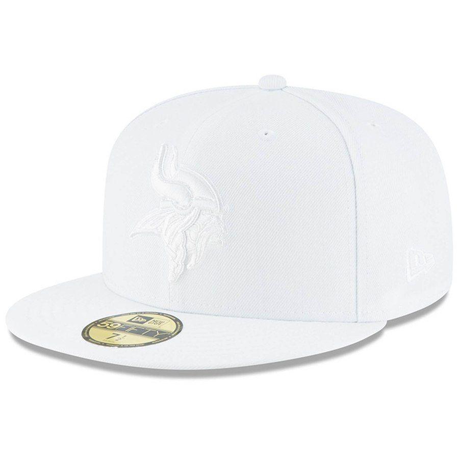 Men s Minnesota Vikings New Era White on White 59FIFTY Fitted Hat ... 34d9493407b