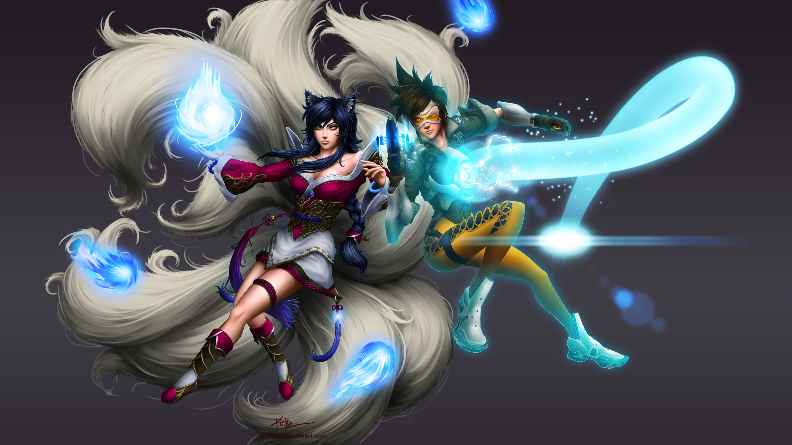 Video Game Crossover Flame Tracer Overwatch League Of Legends Ahri Wallpaper