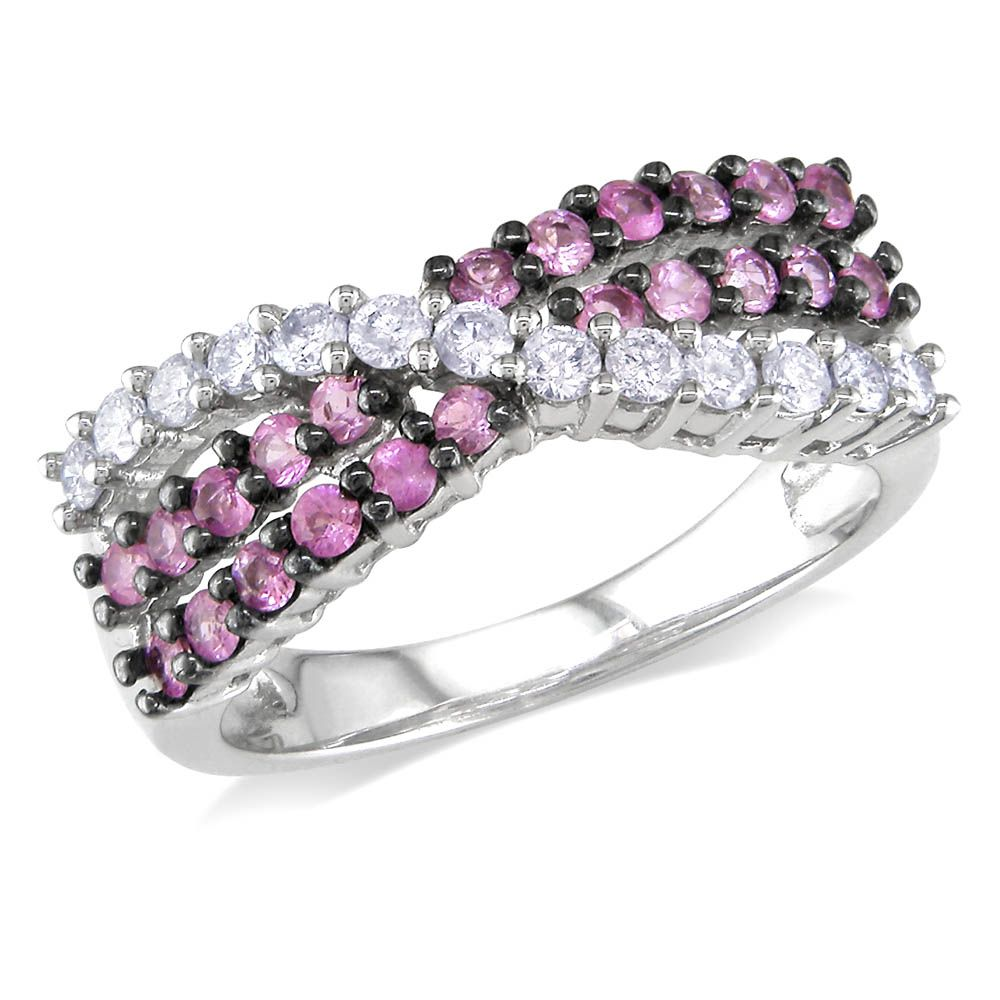 14K White Gold Pink Sapphire and Diamond Ring - See more stunning ...