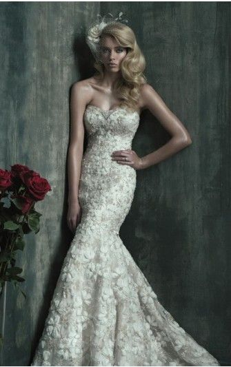 Mermaid Floor-length Strapless Dress Ivory Zipper Wedding Gowns 1214 Lace Beads Sweep Train