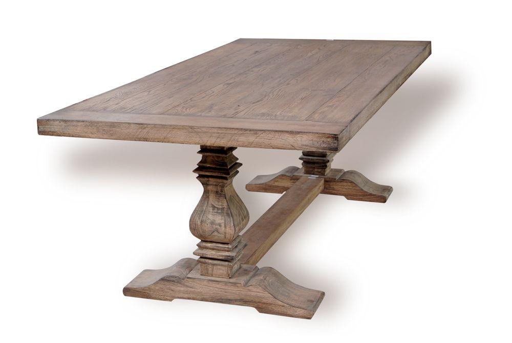 Oak Provence Trestle Table, Vintage Parisian Salvage Wash Finish 84