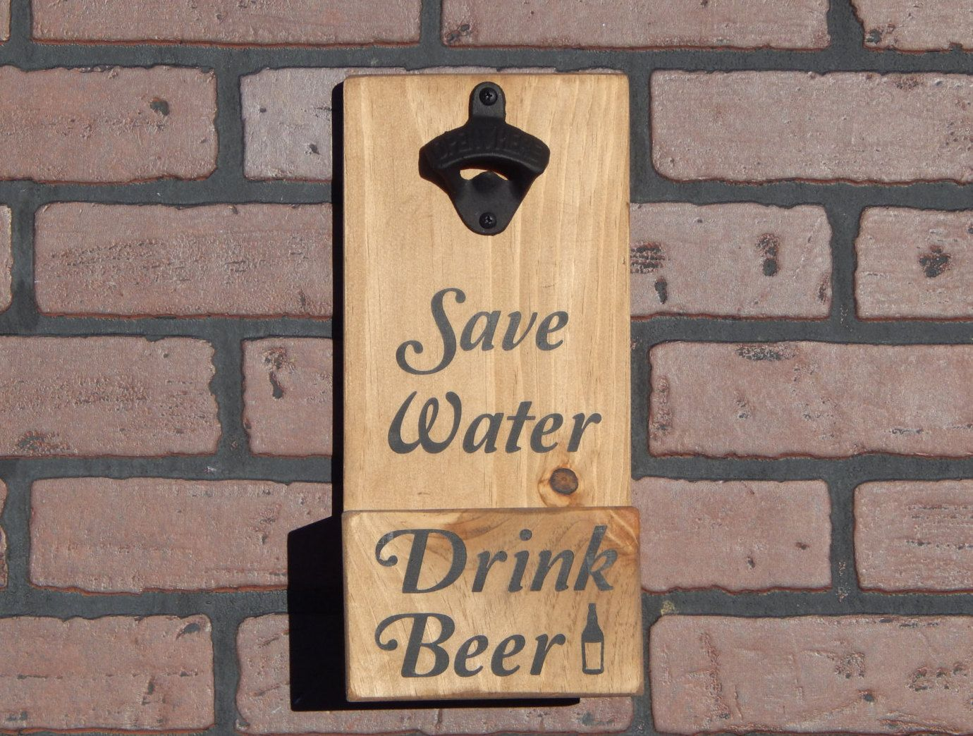 Save Water Drink Beer Wall Mounted Bottle Opener w/ Cap Catcher & Easy Removal System-Custom Colors/Styles - Great Gift for Bars, Man Caves! by GrizzlyBearCreations on Etsy