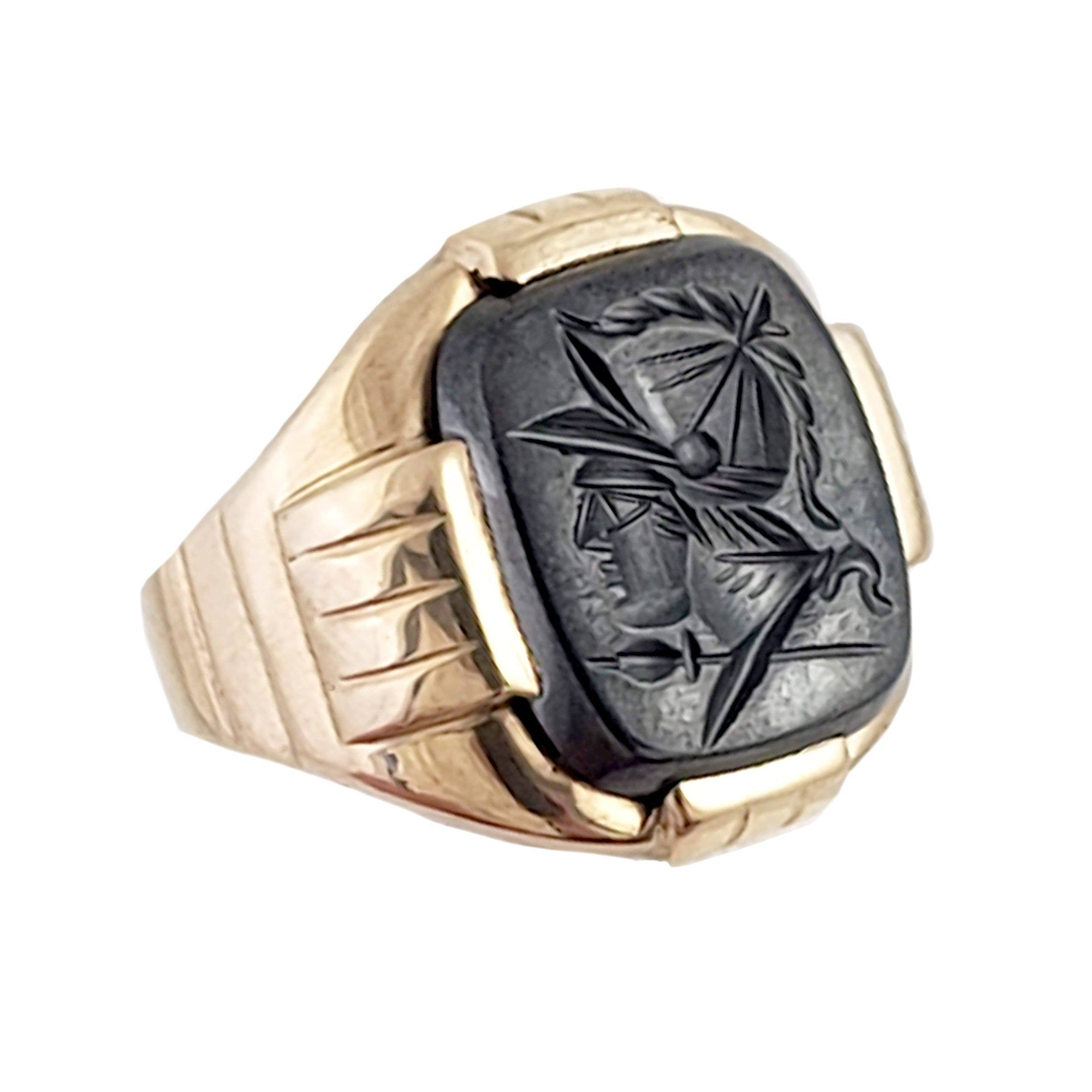 Intaglio Ring 10k Gold Hematite Ring Gold Roman Soldier Ring Ancient Design Occult Ring Handmade Hand Carved RIng Wide Mens Ring Cigar Ring