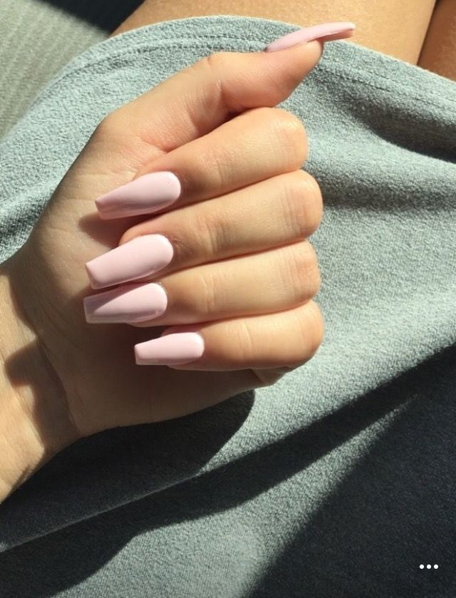 Pastel Pink Gel Polish Over Almond Acrylic Nails Pink Nails Gel Nails Almond Nails Designs