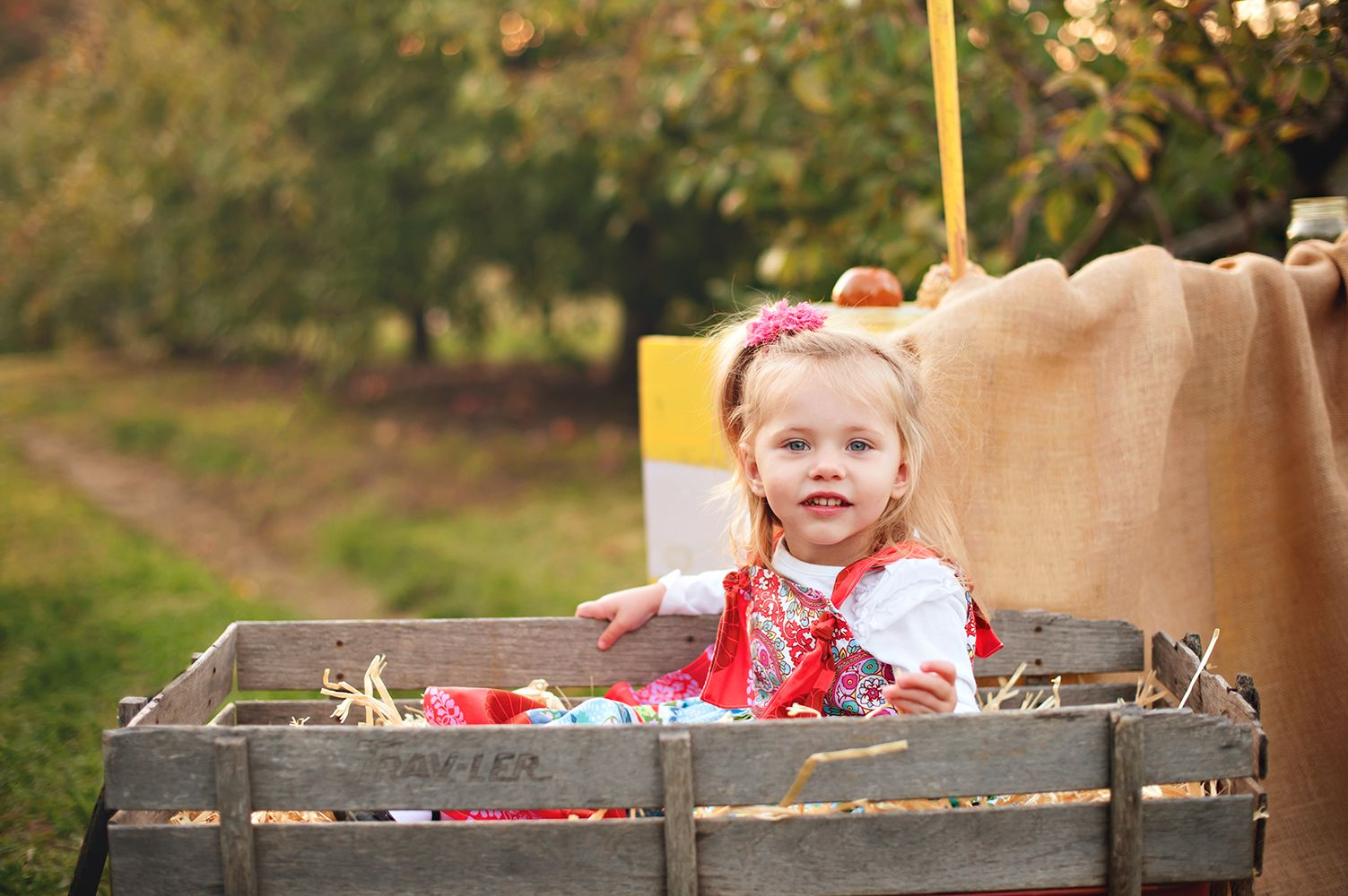 sweetheart in wagon and knot dress.