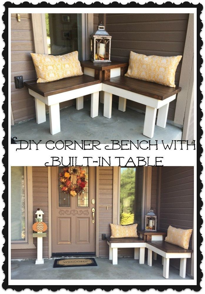 A Diy Corner Bench With Built In Table Which Is Perfect For