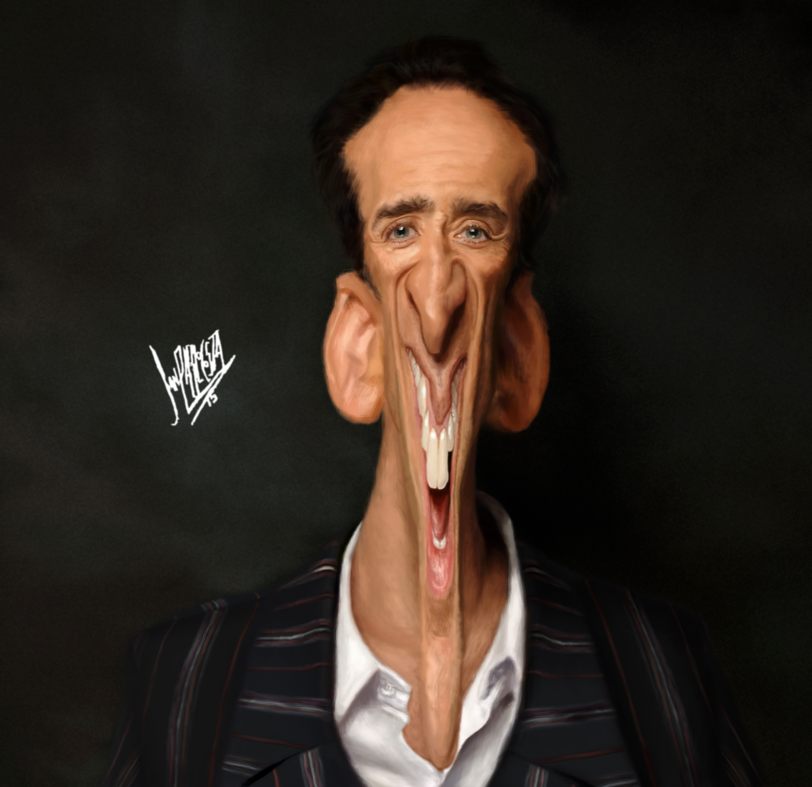 Nicolas Cage New Technique Drawn And Painted With Mouse Costa Portugal