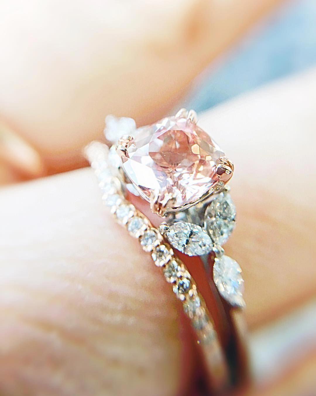 Moissanite Engagement Ring Set 14k White Rose Gold Ring Flower