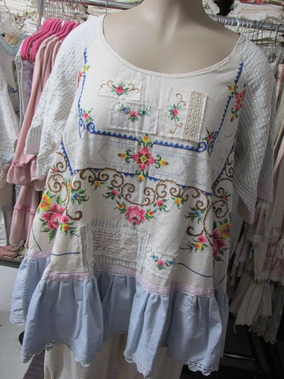 Vintage Kitty.. FRENCH MARKET Tunic. vintage by sistersroseandruby