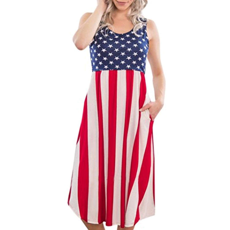 2d468a4bd Sexy Women Skirt Flag Printed Round Neck Sleeveless Casual Beach ...