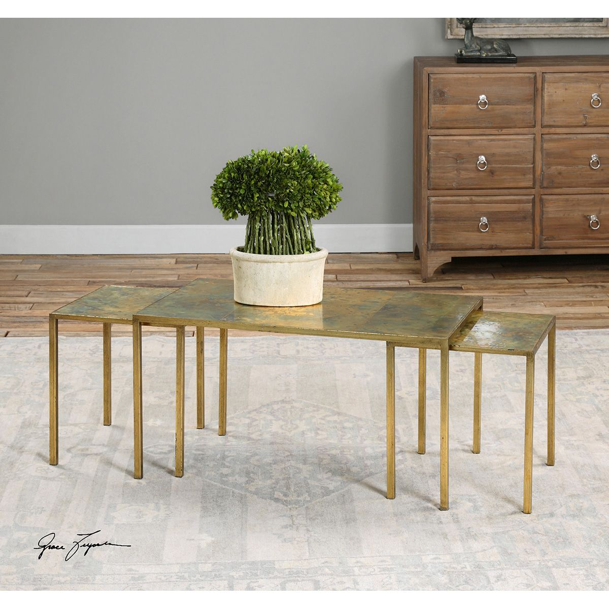 Uttermost Couper Gold Copper Nesting Coffee Tables Set Of 3 24450