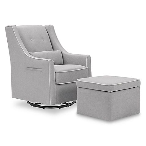 Davinci Owen Glider And Ottoman In Grey Cream Nursery