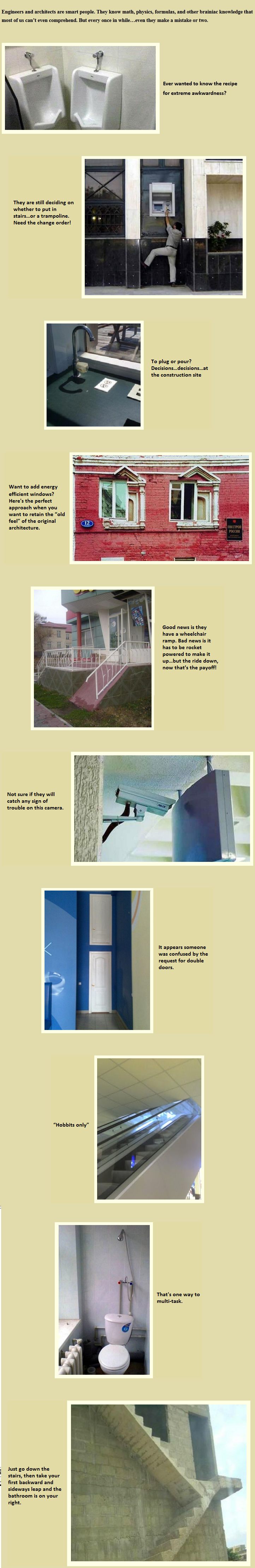 Designs you don't see every day!  Funny mistakes.  Engineering fails.