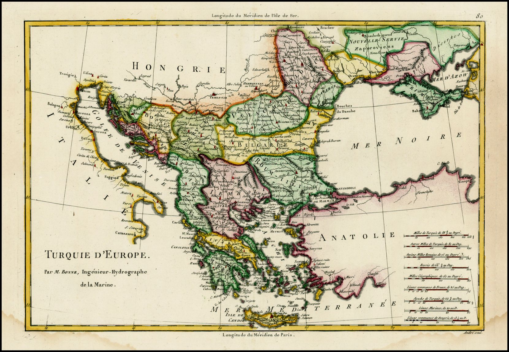 Map Of Europe 1780.A Map Of Turkey In Europe From Bonne S Atlas Encyclopedique