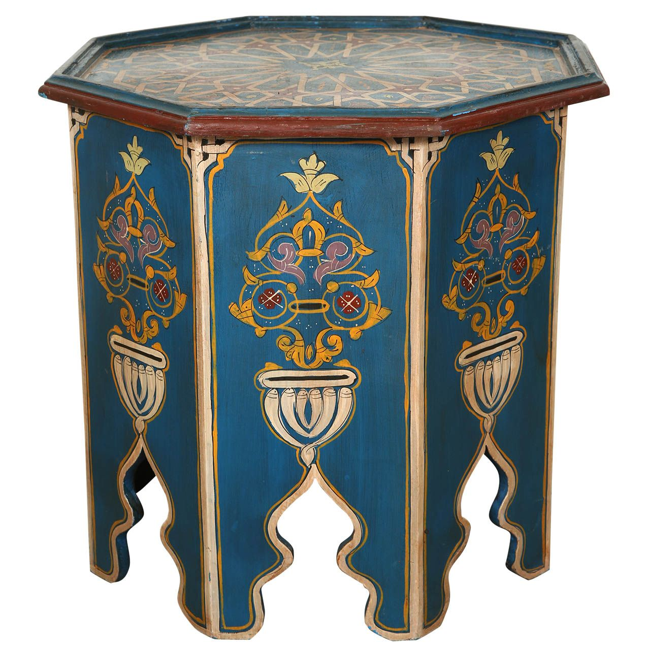 Moroccan Blue Side Table With Moorish Design From A Unique Collection Of Antique And Modern Tables At Ht Moorish Design Painted Coffee Tables Blue Side Table