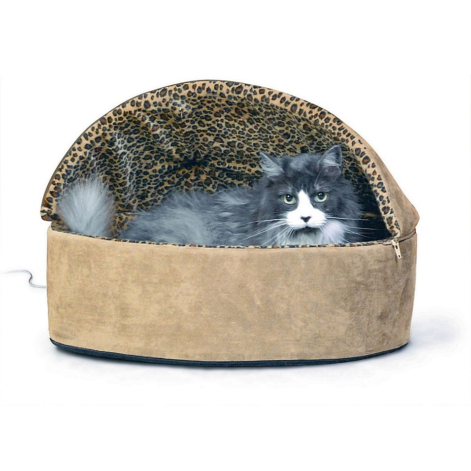Large ThermoKitty Hooded Pet Bed In Tan Leopard Heated